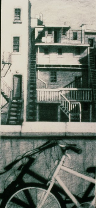 Roof View B- (triptych) by Karen Fogarty